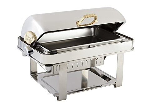Contemporary Stainless Chafing Dish - Bon Chef 12004 Elite Series Stainless Steel Dual Use Rectangular Chafing Dish with Contemporary Legs, 2 gal Capacity