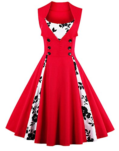 Killreal Women's Vintage Cocktail Floral Print Patchwork Christmas Holiday Party Dress Red Large