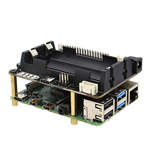 Geekworm Raspberry Pi UPS, X728 (Max 5.1V 8A) 18650 UPS & Power Management Board with AC Power Loss Detection, Auto On & Safe Shutdown Function for Raspberry Pi 4B/3B+/3B