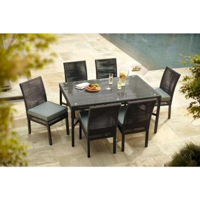 Hampton Bay Fenton 7 Piece Patio Furniture Dining Set With Peacock And Java  Cushions, Seats