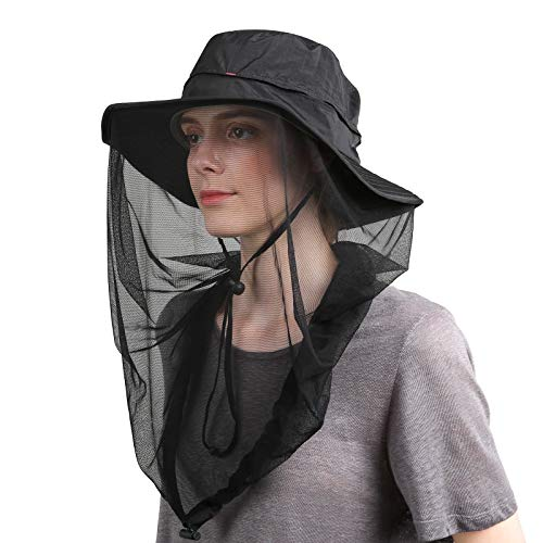 Flammi UPF 50 Plus Sun Hat with Net Boonie Hat Outdoor for Women and Men (Black) (Insect Mask)