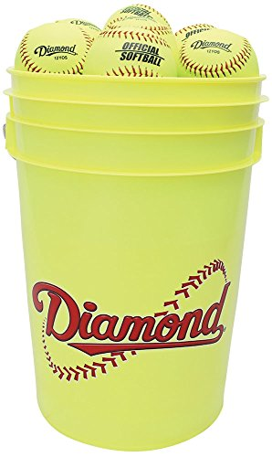 Diamond Official Fastpitch 12Ysc Softballs With Bucket 18 Ball Pack W/Bucket