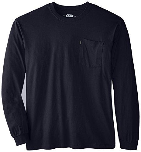 Key Apparel Men's Big-Tall Heavyweight Long Sleeve Pocket T-Shirt, Navy, 4X-Large/Tall ()