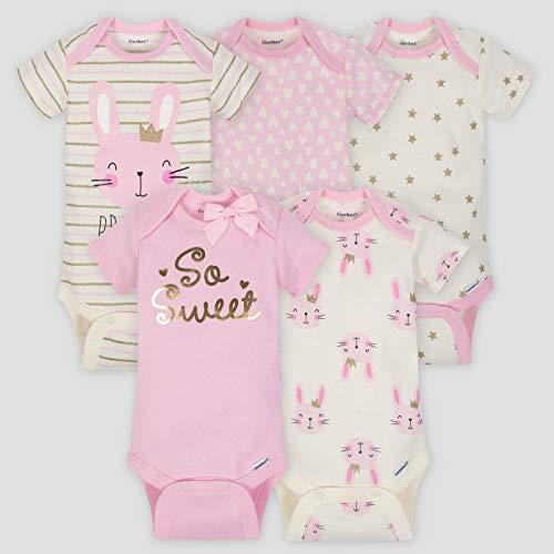 Gerber Baby Girls Onesies Bodysuits 5 Pack, Sweet Princess, 12 Months