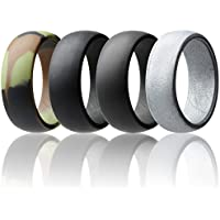 ROQ Silicone Wedding Ring Men Affordable Silicone Rubber Band, 7 Pack, 4 Pack & Singles - Camo, Metal Look Silver, Black, Grey, Light Grey