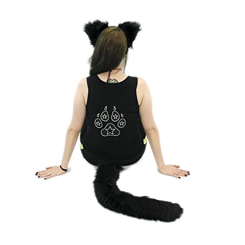 Pawstar Furry Kitty Cat Mew Ear Headband and Tail Combo Costume Cosplay Set - Black