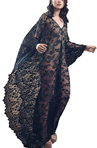 Butterfly Up Cotton Cover - VenuStar Kimonos for Women Kimono Lace Kimono Cover up Butterfly Embroidered with Half Sleeves (One Size, V-Black)