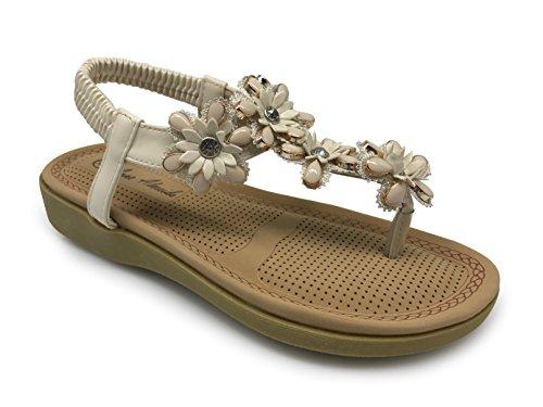 Kate05 Women Summer Casual Sling Bohemian Sandals Flower Beads Yoga Flip Flop (Flower Slingback)