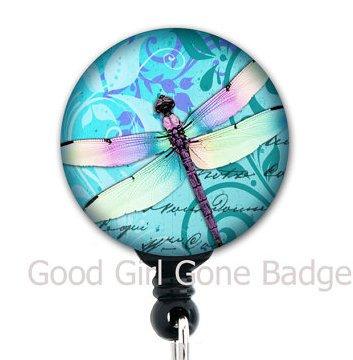 Retractable Badge Reel - Dragonfly Blue - Badge Holder
