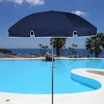 Acrylic Patio Umbrella Aluminum Pole Navy Blue Select Option: Add Crank Lift