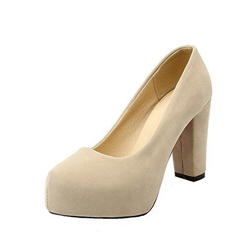 AgeeMi Shoes Damen High-Heels Ziehen auf Suede Pumps Schuhe Cremefarben