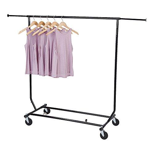 SSWBasics Clothing Rack - Rolling Collapsible Salesman Rack - EZ Fold Construction