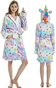 Cogihome Cartoon Unicorn Flannel Bathrobe Pajamas Adult Sleeping Nightgown