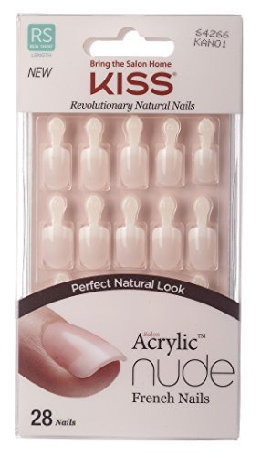 Kiss Salon Acrylic Nude French Nails 28 Count (Breathtaking) (3 Pack)