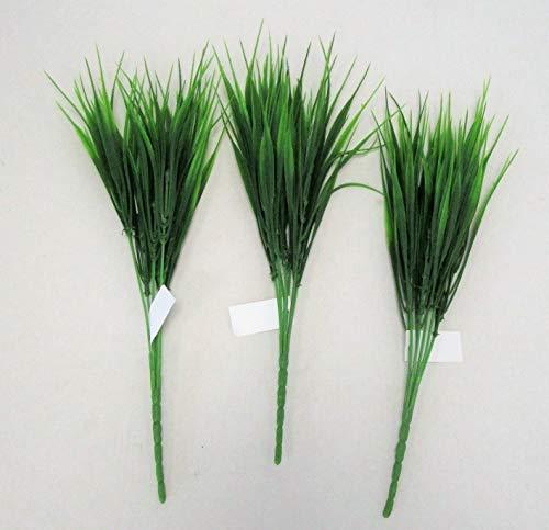 FLORIST SUPPLIES Set of 3 Artificial Green Two-Tone Grass Bush - 38cm -...