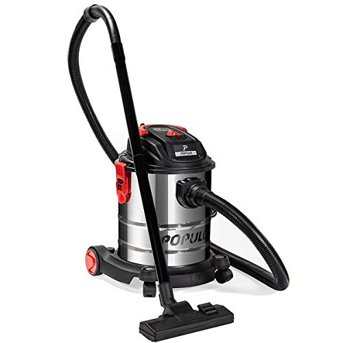 Populo 5.5 Peak HP 5 Gallon Wet and Dry Vacuum Stainless Steel Bucket 3-Functions Vacuum Dry/Wet/Blow with Wheel by populo (Image #1)