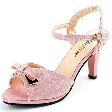 LvYuan Mujer Sandalias Confort PU Verano Casual Vestido Paseo Confort Pajarita Perla Hebilla Tacón Bajo Dorado Verde Rosa claro 2'5 - 4'5 cms light pink