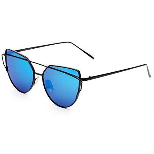 Espejo y Gafas Lentes forepin Planos Ojo Protección Estilo reg; de UV400 Con Hombre de Gato Sol Color 05 Metal de Moda Polarizadas Marca Mujer q7aX5r