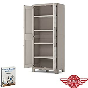 Waterproof Storage Cupboard Living Room Kitchen Bedroom Balcony Bathroom  Wall Furniture Doors Adjustable Shelves Cabinet Home Indoor Outdoor Store  Organizer ...
