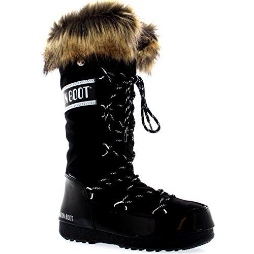Moon Boot Womens Tecnica Original Monaco Snow Winter Knee High Waterproof Boot - Black - 8 (Moon Winter Boots Snow)