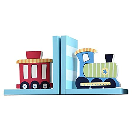 Brandream Cute Cartoon Kids Room Bookend Trains Vehicles Theme Bookends