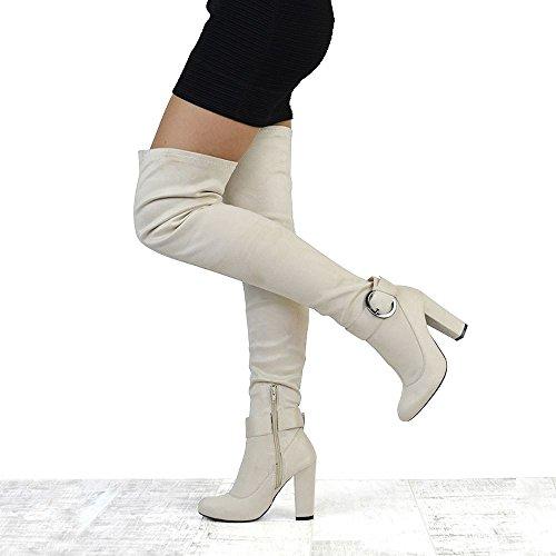 ESSEX GLAM Damen Wildlederimitat Oberschenkellange Stretch Blockabsatz Langschaft Abend Stiefel mit Schnalle und Reißverschluss NUDE FAUX SUEDE