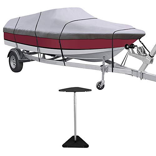 (KAKIT Waterproof All Weather 600D Polyester Trailerable Boat Cover for 20-22' V-Hull Tri-Hull Runabout, Free Boat Cover Support Kit & Storage Bag)