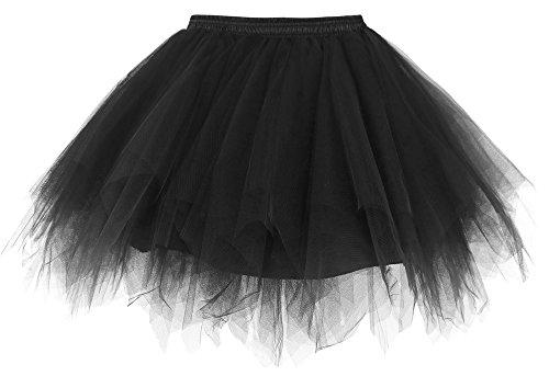 Simplicity Women's 50s Vintage Ballet Bubble Tutu Skirt Petticoat, Black (Vintage Women Underwear)