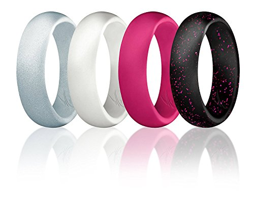 ROQ Silicone Wedding Ring for Women, Set of 4 Silicone Rubber Wedding Bands - Black with Glitter Sparkle Pink, Pink, White, Metal Look Silver - Size 8