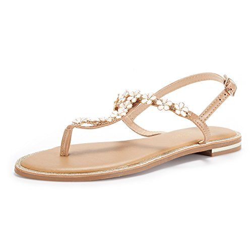 DREAM PAIRS Women's Nude T-Strap Flat Sandals Size 8.5 M US