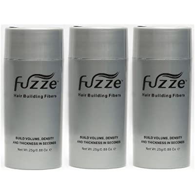 3 Pack Special Fuzze Second Generation Keratin Hair Building Fibers - Black - 25g/0.88 oz. - Adds Volume and Thickness to Balding or Thinning Hair