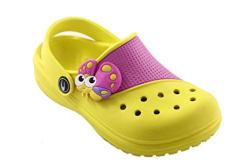 Detail Clog (GLOADI CHICOTE CLOG Girls, Confortable, Rubber, Durable, Yellow/pink and beautiful detail 2.5 US )