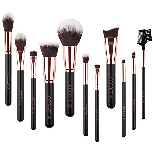 Docolor Makeup Brushes 11Pieces SE Series Makeup Brushes Set Professional Face Powder Foundation Blending Contour Highlight Eye Shadow Make Up Brushes Kit (Black/Golden)
