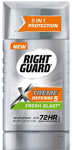 Right Guard Xtreme Defense 5 Antiperspirant Stick, Fresh Blast, 2.6 Ounce