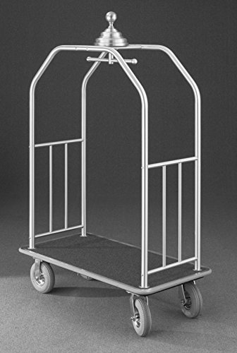(Glaro 7649 Premium Bellman Cart with Satin Brass finish, Blue carpet color, and Gray bumper. Includes Solid Rubber Black tires. Includes Brakes.)