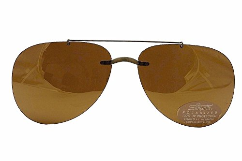Silhouette Sunglasses 5090 0102 B1 Brown Polarized Clip-On - Sunglasses On Glasses Silhouette Clip