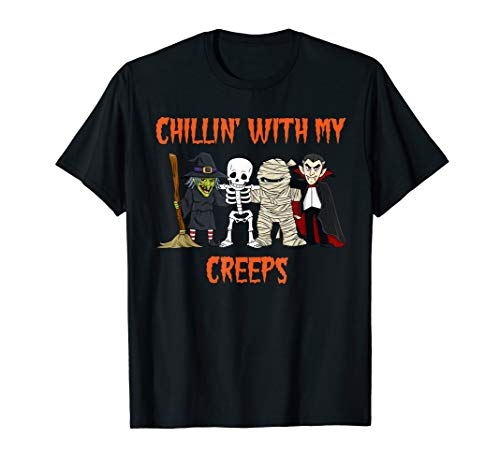 Chillin With My Creeps Vampire Halloween Skeleton Witch Gift T-Shirt -