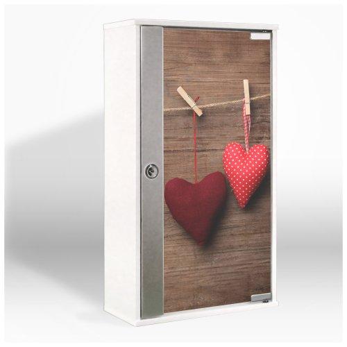Medizinschrank mit Glastür und Motiv: Herzen