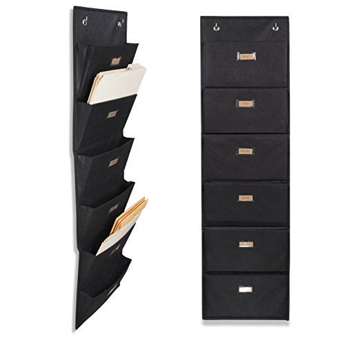 Wallniture Archivo Hanging File Folder Holder - Document Organizer with Label Tabs 6-Sectional Canvas Black (2)