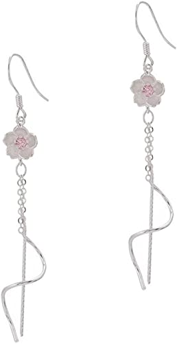 Handmade quality Blush pink faux crystal silver drop earrings.