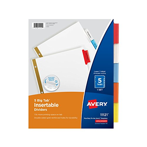 office depot divider templates - avery big tab insertable dividers 5 multicolor tabs 1