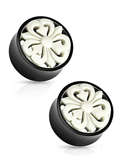 White Carved Flower Double Flared Ear Plug (19 mm, 3/4 Inch) - 2 Piece