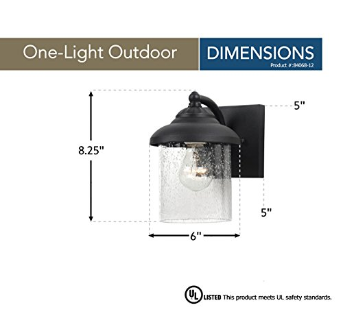 Sea Gull Lighting 84068-12 Lambert Hill One-Light Outdoor Wall Lantern with Clear Seeded Glass Shade, Black Finish by Sea Gull Lighting (Image #1)