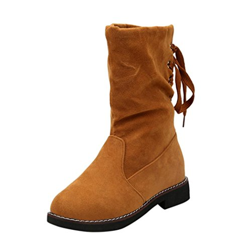 Flat Boots Yellow Mid Ankle Low Women Ladies Sikye Up Winter Shoes Wedge Warm Lace Boots OfRtxwtC