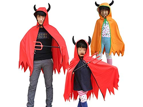 Hezon Happy Festival Creative Devil Cloak with Horn Long Halloween Hooded Cape for Children (Red) (Color : Yellow, Size : Length102cm)