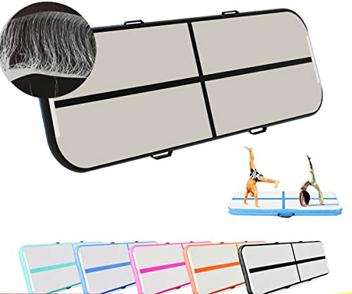 (CLEAN ELF Air Track Inflatable Tumbling Mats for Gymnastics mat Gym, Yoga, Martial Arts, Training, Outdoor Activities Suitable for Adults & Kids, Workout Equipment (Black, 13.12X3.3X0.33 FT))
