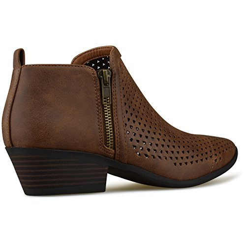 Lt Standard Buckle Casual Toe Closed Brown Heel Low Bootie Women's Strappy Walking Comfortable Premier Boot SqfdgnOpp