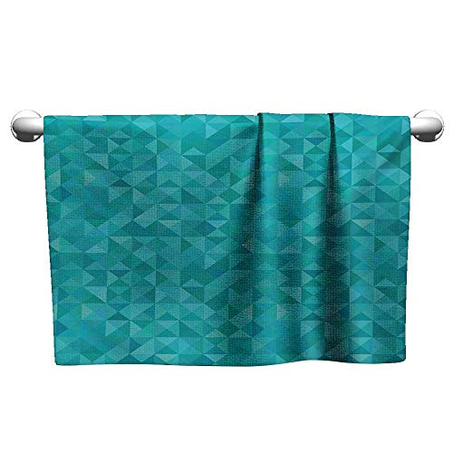 alisoso Teal,Shower Towel Geometrical Shapes Triangles Squares Modern Abstract Art Different Shades of Blue 3D Digital Printing Turquoise Aqua W 24