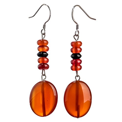 YACQ Sterling Silver Carnelian Black Onxy Gemstone Dangle Earrings Handcrafted Jewelry for Women (enhanced carnelian)