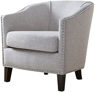 Madison Park Fremont Accent Chairs – Hardwood, Plywood, Faux Linen, Bedroom Lounge Mid Century Modern Deep Seating, Club Style Barrel Armchair, Living Room Furniture, Cream